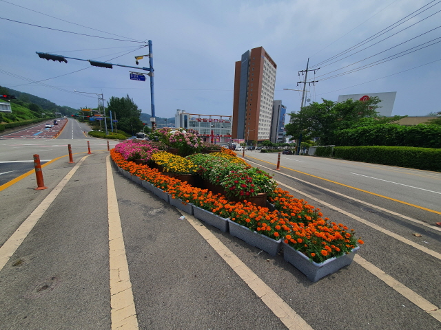 [크기변환]3.통영시 주요도로 교통섬 '화려한 변신'-관문사거리.jpg