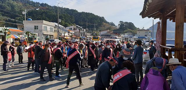 사량면 한려해상국립공원계획 변경안 재조정 촉구 해상 시위 개최1.jpg