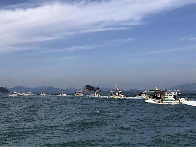 사량면 한려해상국립공원계획 변경안 재조정 촉구 해상 시위 개최3.JPG